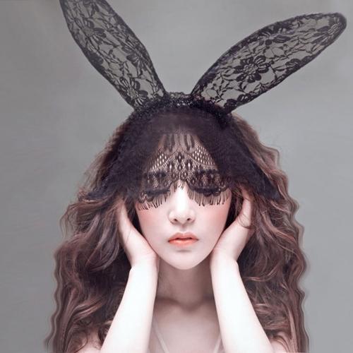 蕾絲面紗眼罩兔子耳朵發箍