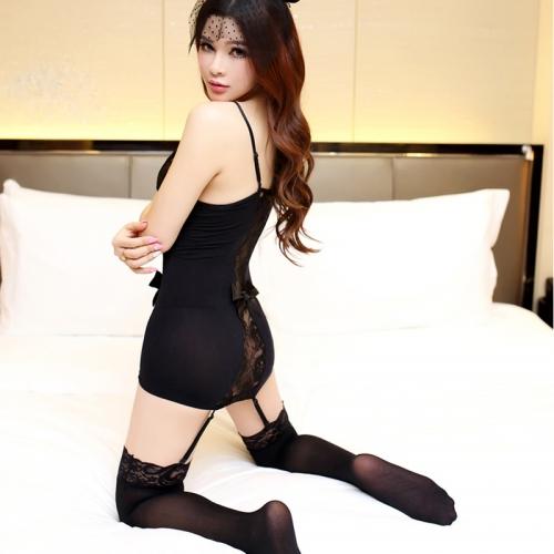 蕾絲吊帶開檔露乳激情套裝 透視極度誘惑制服女騷