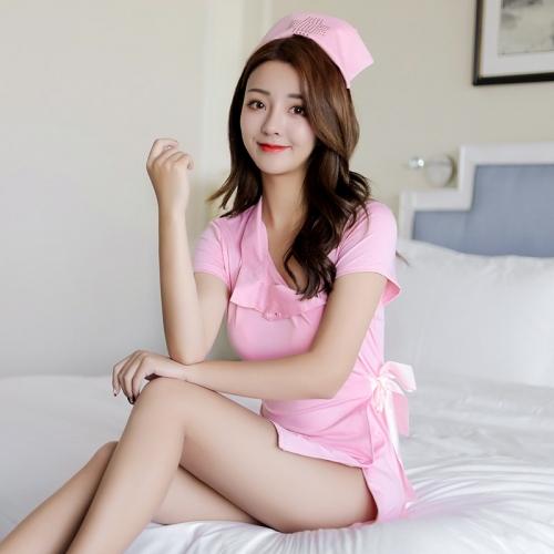 霏慕 角色扮演性感粉嫩護士短袖套裝