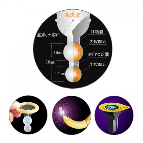 威尔乐 柔珠SPA避孕套/安全套(双珠) 中号 3只装/盒