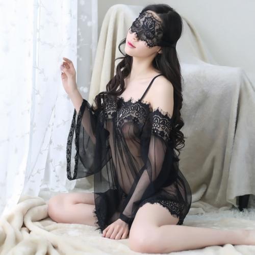 性感露肩透視網紗蕾絲睡裙