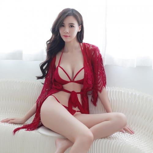 浪漫時尚魅惑性感蕾絲花邊下擺睡衣