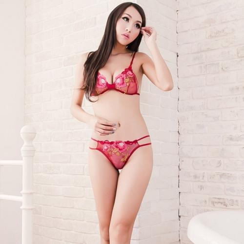 欧姿丽雅 高档镂空刺绣三点式文胸套装 性感蕾丝透气诱惑