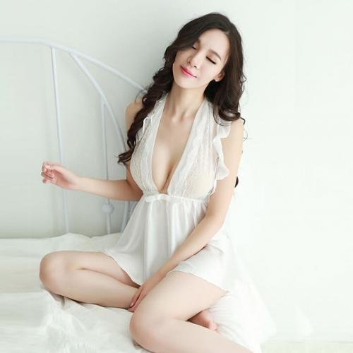 絲質黑白高端荷葉邊性感睡裙