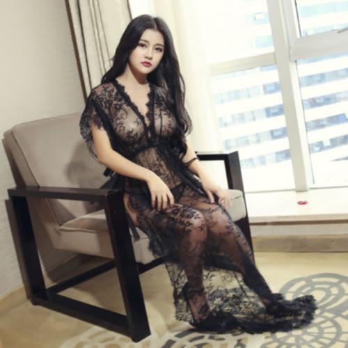 千秀制衣 透視性感修身蕾絲系帶睡裙