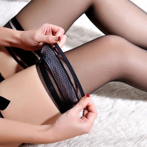 相山 性感透明提花大腿袜 长筒丝袜 带硅胶防滑