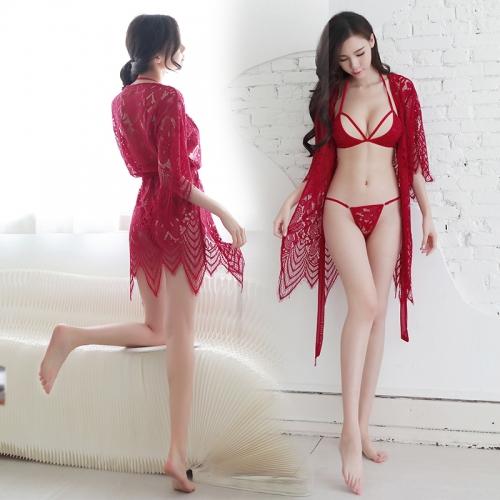 浪漫时尚魅惑性感蕾丝花边下摆睡衣