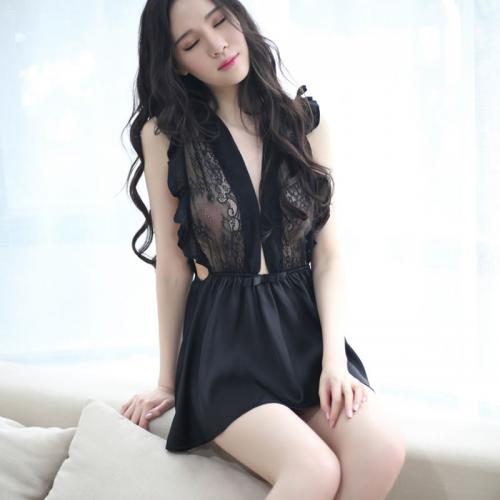 丝质黑白高端荷叶边性感睡裙