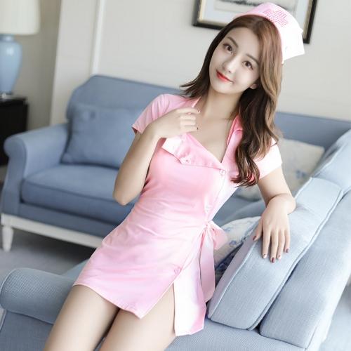 霏慕 角色扮演性感粉嫩护士短袖套装