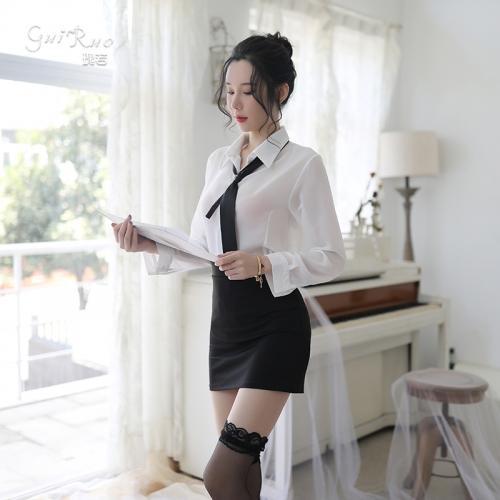 瑰若 性感紧身包臀秘书OL教师套装