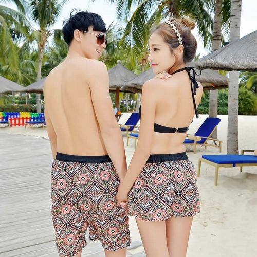 爱赞 情侣款沙滩速干民族风短裤
