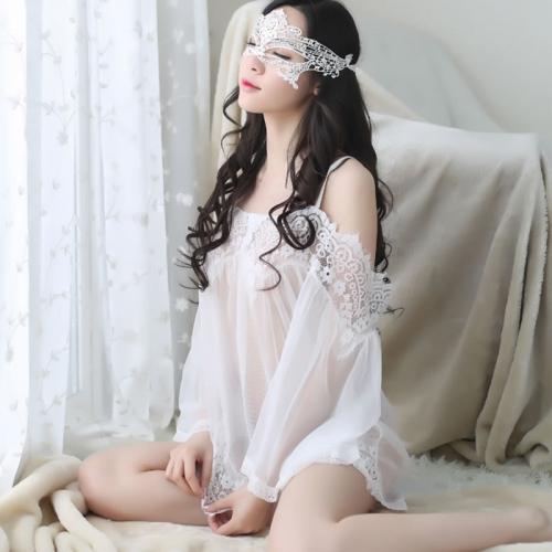 性感露肩透视网纱蕾丝睡裙