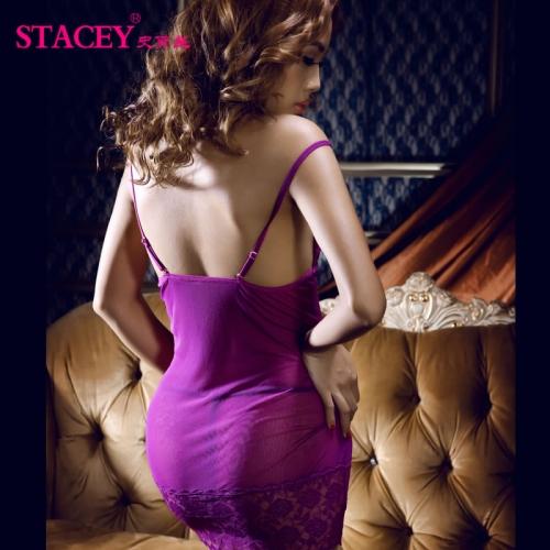 史黛丝 露背透视紫色蕾丝吊带情趣睡衣性感睡裙