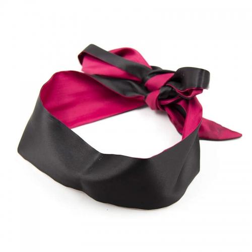 桃色缘 素色丝绸长系带眼罩