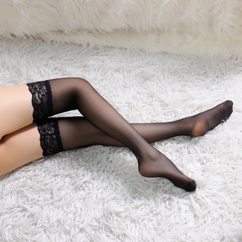 蕾丝边超薄长筒袜 透明极度诱惑高筒袜