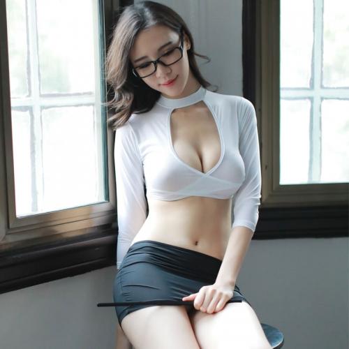 瑰若 性感教师深V齐臀魅惑制服内衣