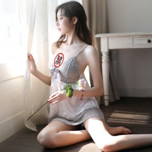 性感睡群情趣內衣 瑰若-性感深V蕾絲托胸吊帶裙